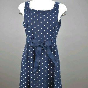 Studio 1 Petite 10P Blue white polka dots with tie